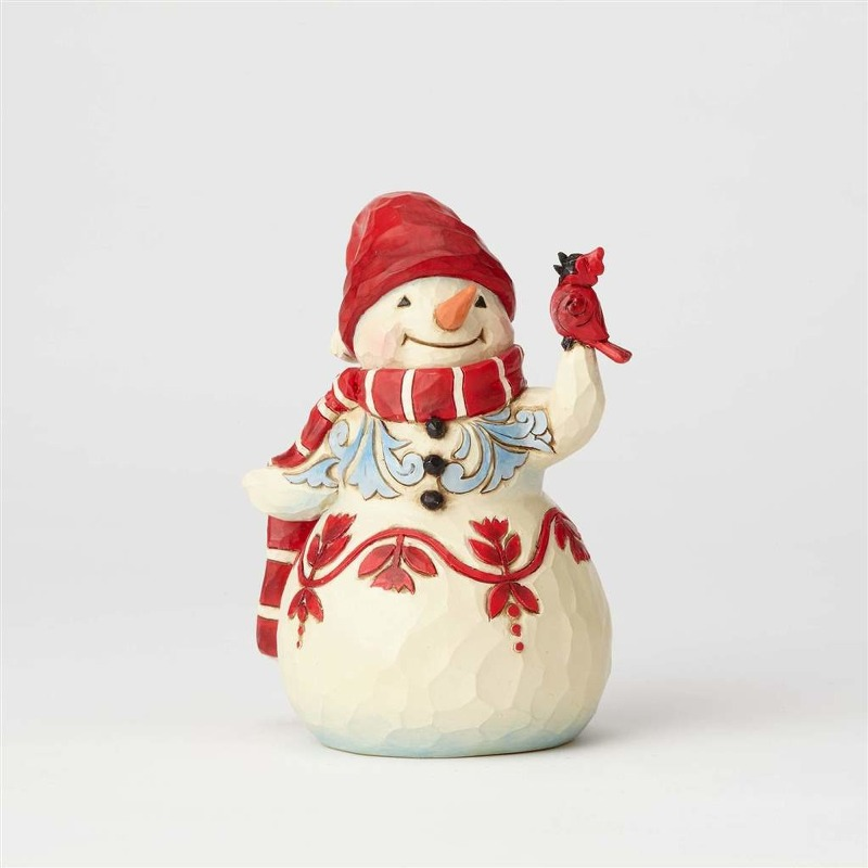 Jim Shore Figurine - Pint Sized Snowman with Cardinal