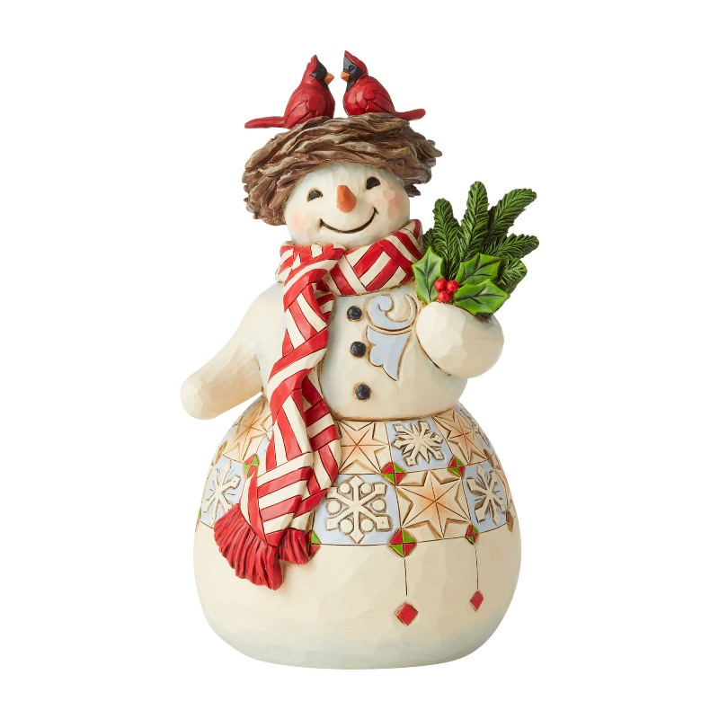 Jim Shore Figurine - Snowman with Cardinal Nest 2020