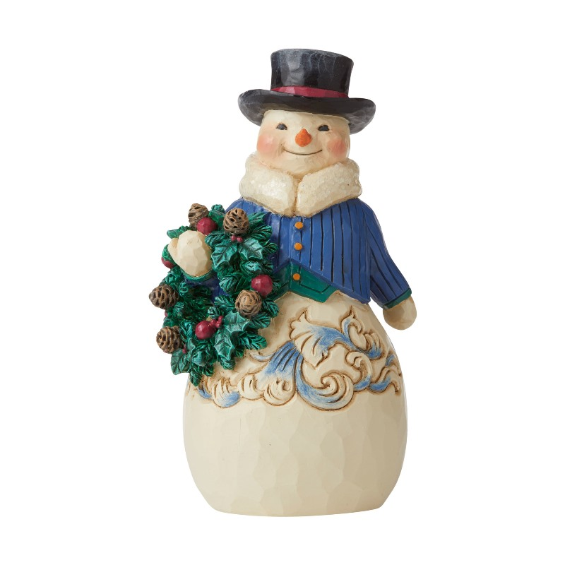 Jim Shore Figurine - Victorian Snowman with Wreath 2020