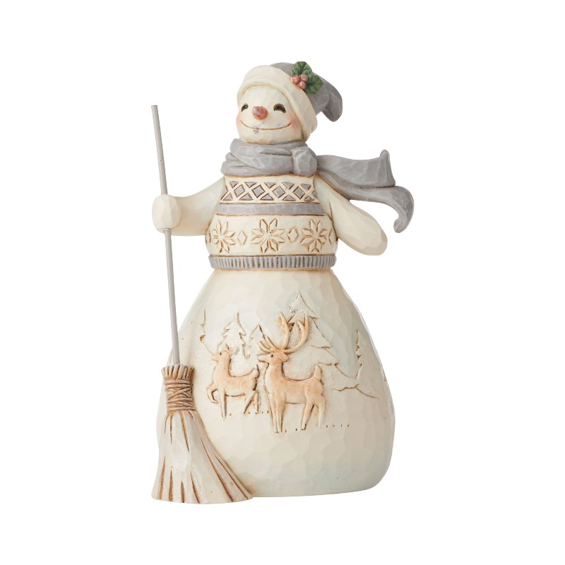 Jim Shore Figurine - White Woodland Snowman With Broom 2020