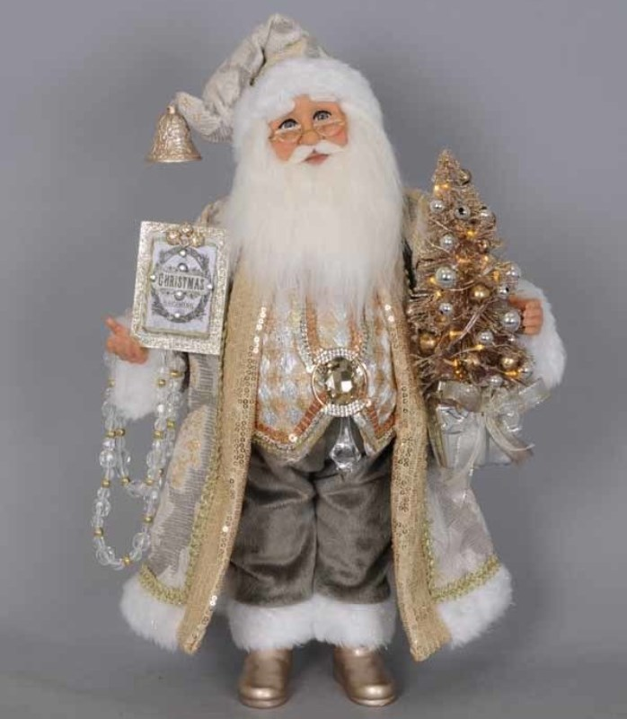 Karen Didion Santa - 16in - Lighted Silver/Gold 2019