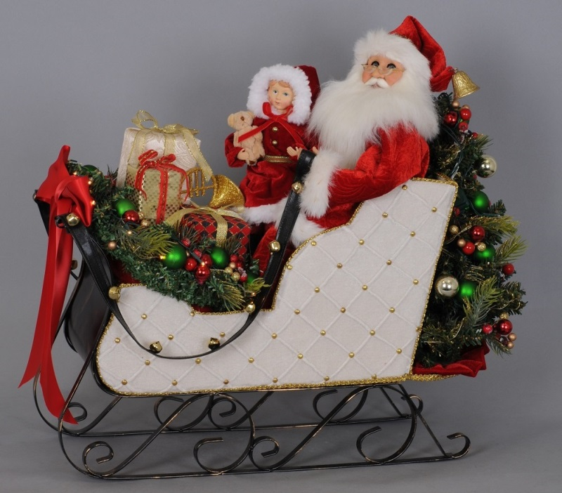Karen Didion Santa - Signature Series - Lighted White Sled 2019