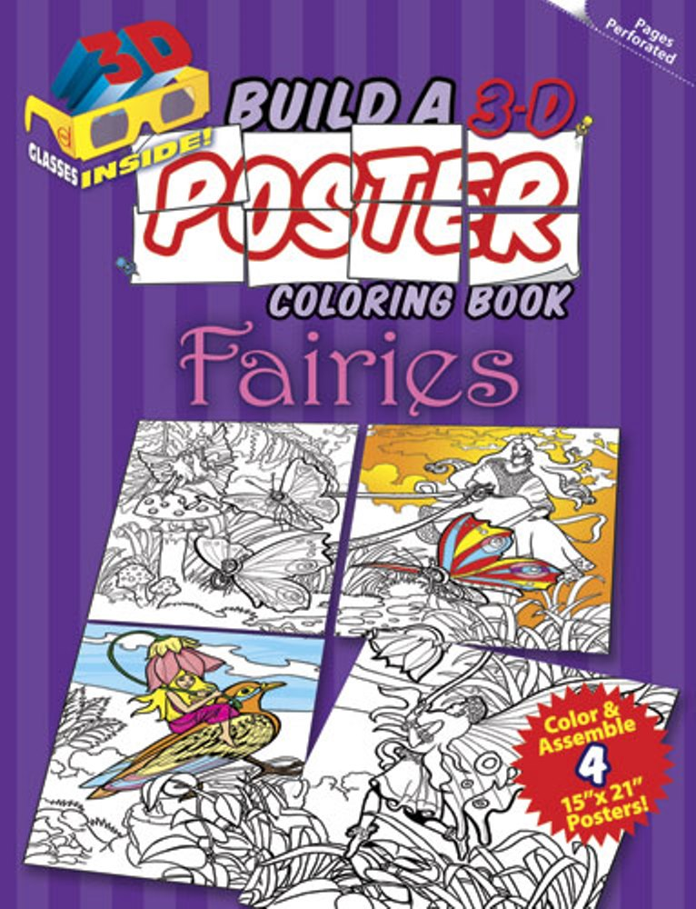 Kids Activity Book - Build a 3-D Poster Coloring Book - Fairies
