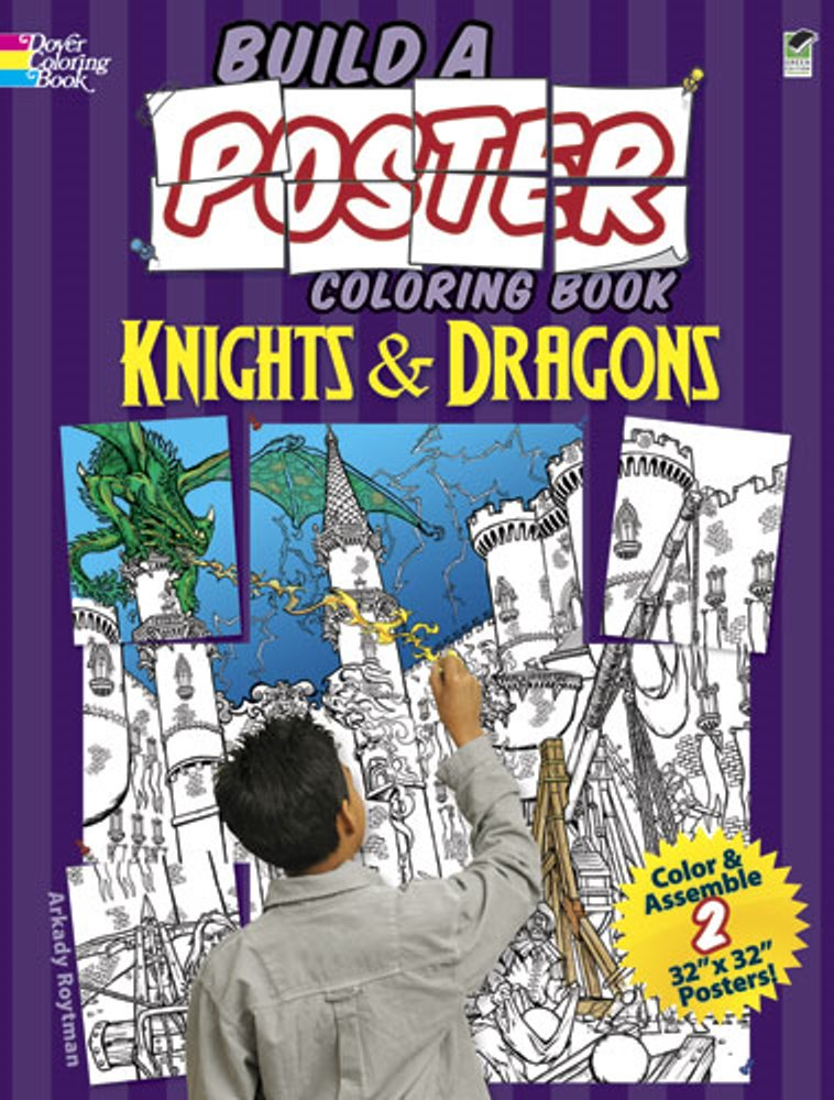 Kids Activity Book - Build a Poster Coloring Book - Knights & Dragons