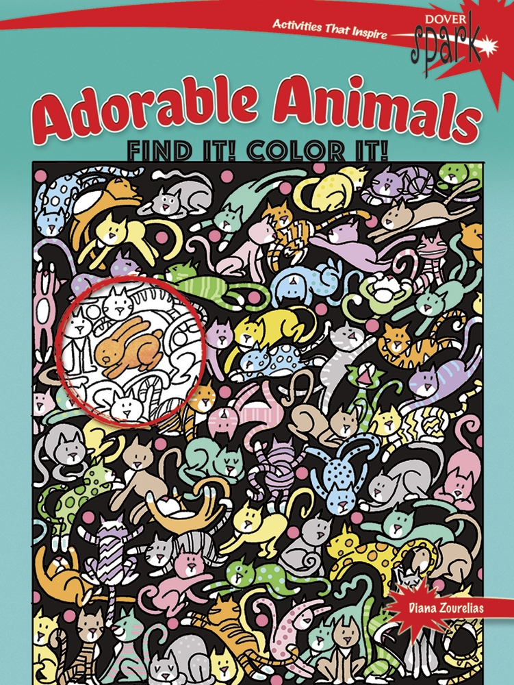 Kids Activity Book - SPARK Adorable Animals Find It Color It