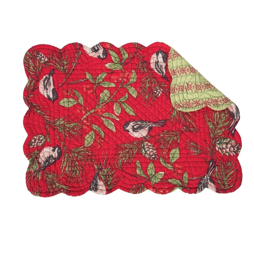 Rectangular Placemat - Chickadee Red - Quilted/Washable/Reversible - 19in x 13in
