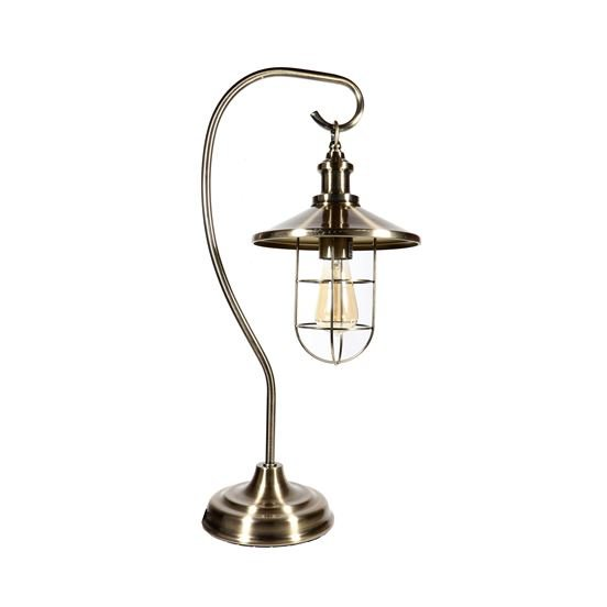 Lamp - Antique Brass Look Cage Lamp - 23in
