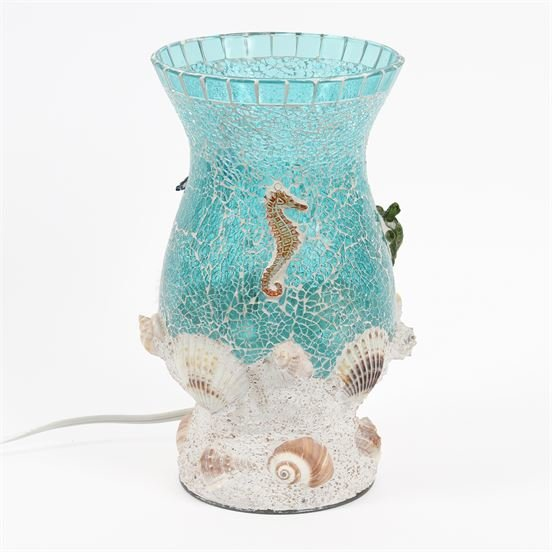 Hurricane Lamp - Aquamarine Mosaic Hurricane Lamp - 11in