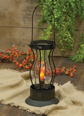 Battery-Operated Latch Lantern with Timer - Black - 11.5in x 6.33in