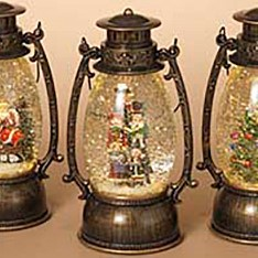 Lantern Snow Globe - Battery/Timer - Bronze - Carolers - 9.5in