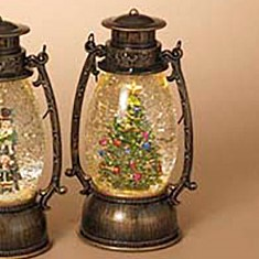 Lantern Snow Globe - Battery/Timer - Bronze - Christmas Tree - 9.5in