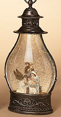 Lantern Snow Globe - Battery/Timer - Bronze - Holy Family/Kneeling Angel - 15in