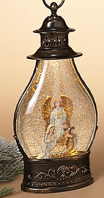 Lantern Snow Globe - Battery/Timer - Bronze - Holy Family/Standing Angel - 15in