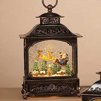 Lantern Snow Globe - Battery/Timer - Bronze - Santa in Sleigh - 11in