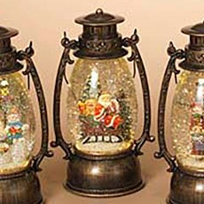 Lantern Snow Globe - Battery/Timer - Bronze - Santa in Sleigh - 9.5in
