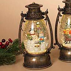 Lantern Snow Globe - Battery/Timer - Bronze - Snowman - 9.5in