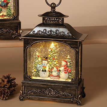 Lantern Snow Globe - Battery/Timer - Bronze - Snowman Family - 11in