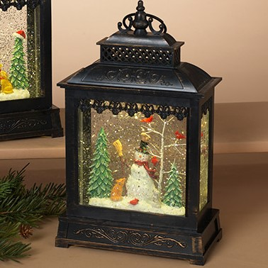 Lantern Snow Globe - Battery/Timer - Bronze - Snowman with Broom - 11in
