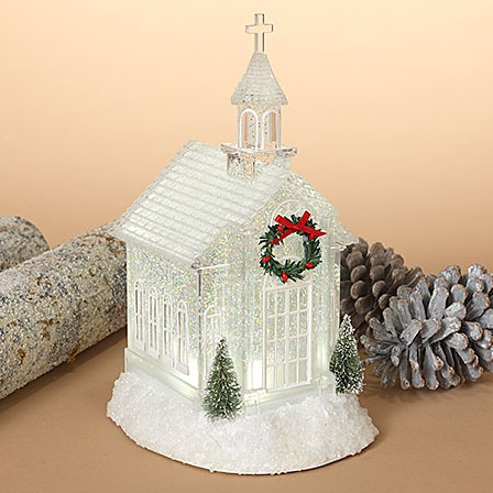 Lantern Snow Globe - Battery/Timer - Clear - Holiday Church - 10.75in