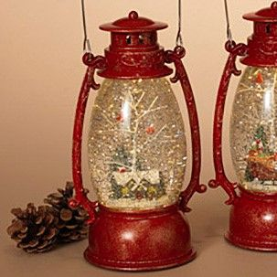 Lantern Snow Globe - Battery/Timer - Red - House with Cardinals - 9.5in