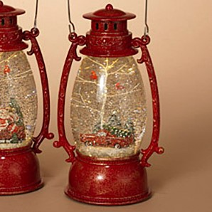 Lantern Snow Globe - Battery/Timer - Red - Truck with Cardinals - 9.5in