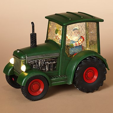 Lantern Snow Globe - Battery/Timer - Santa in Green Truck - 8.75in