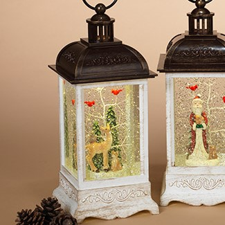 Lantern Snow Globe - Battery/Timer - White - Deer with Cardinals - 10.5in