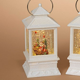 Lantern Snow Globe - Battery/Timer - White - Santa in Sleigh - 8.5in