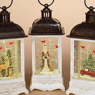 Lantern Snow Globe - Battery/Timer - White - Santa with Cardinals - 10.5in