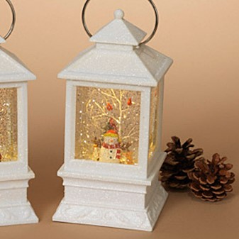 Lantern Snow Globe - Battery/Timer - White - Snowman with Cardinals - 8.5in