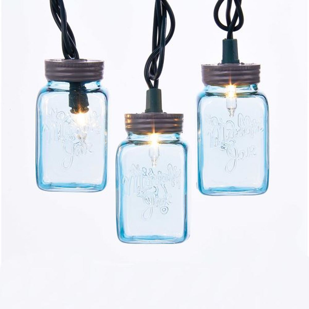Light Set - Blue Mason Jar - Set of 10
