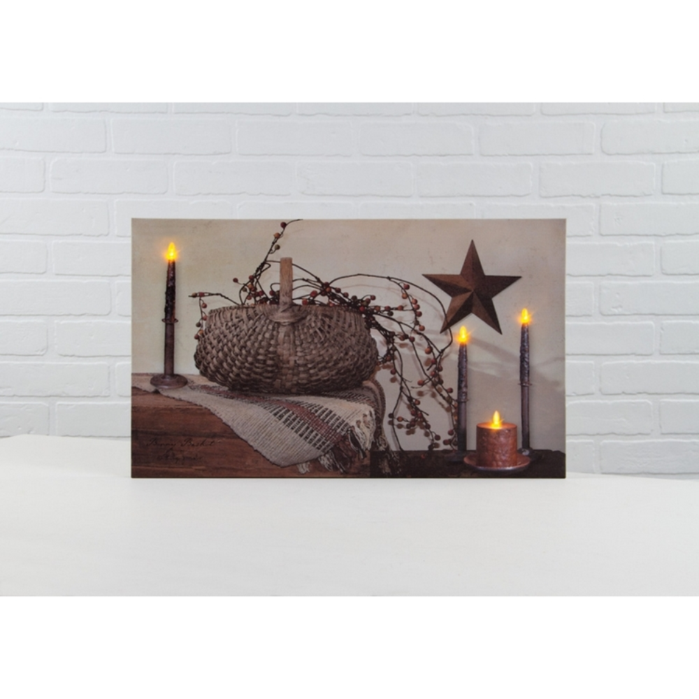 Lighted Canvas Pictures - Berry Basket - 12in x 20in