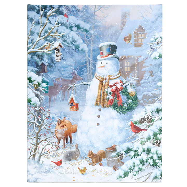 Lighted Canvas Pictures - Snowy Woodland Snowman - 24in