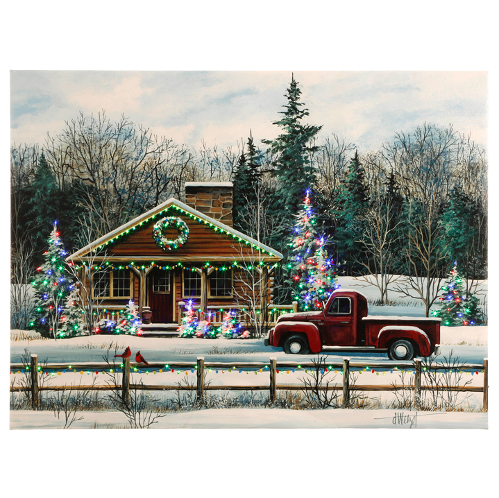 Lighted Canvas Pictures - Winter Scene / Red Truck - 24in