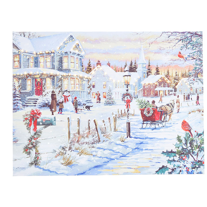 Lighted Canvas Pictures - Winter Wonderland / Red Sleigh - 24in