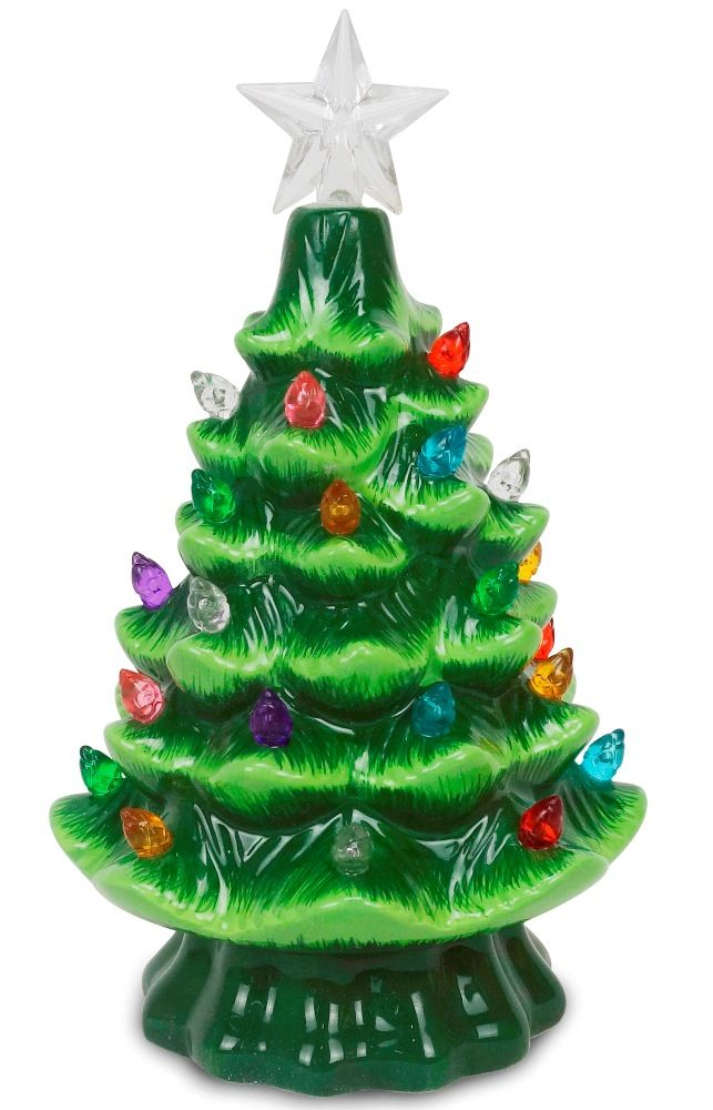Lighted Ceramic Christmas Tree - Battery-Operated with Multi-Colored Lights - 7.5 Inch