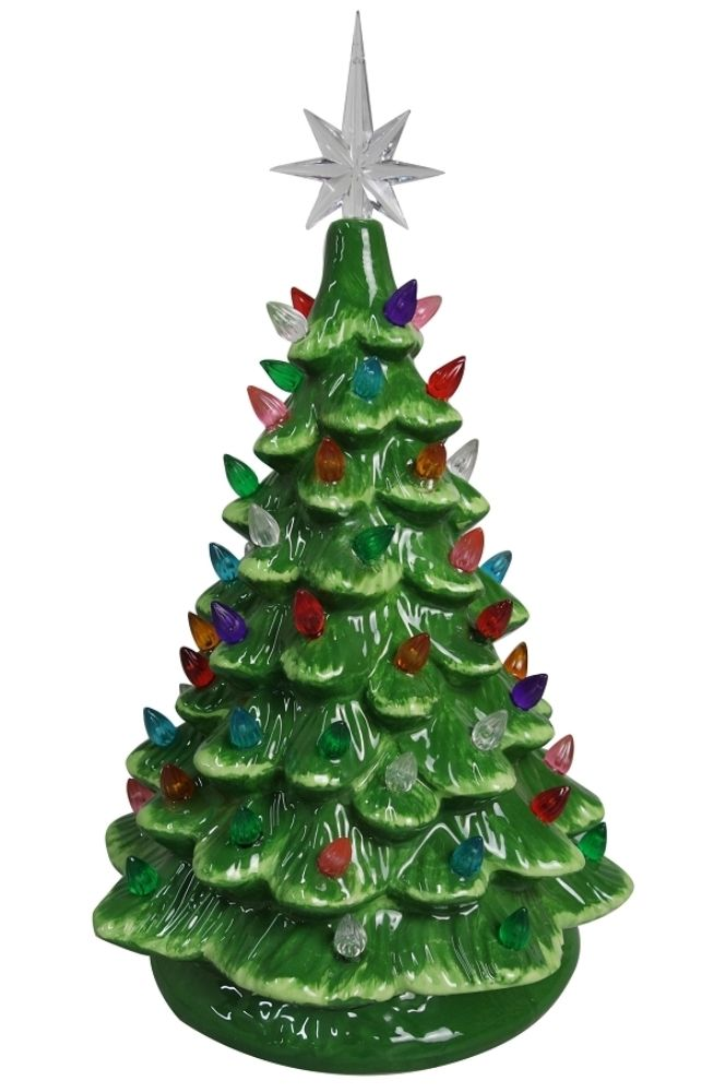 Lighted Ceramic Christmas Tree Electric With Multi Colored Lights