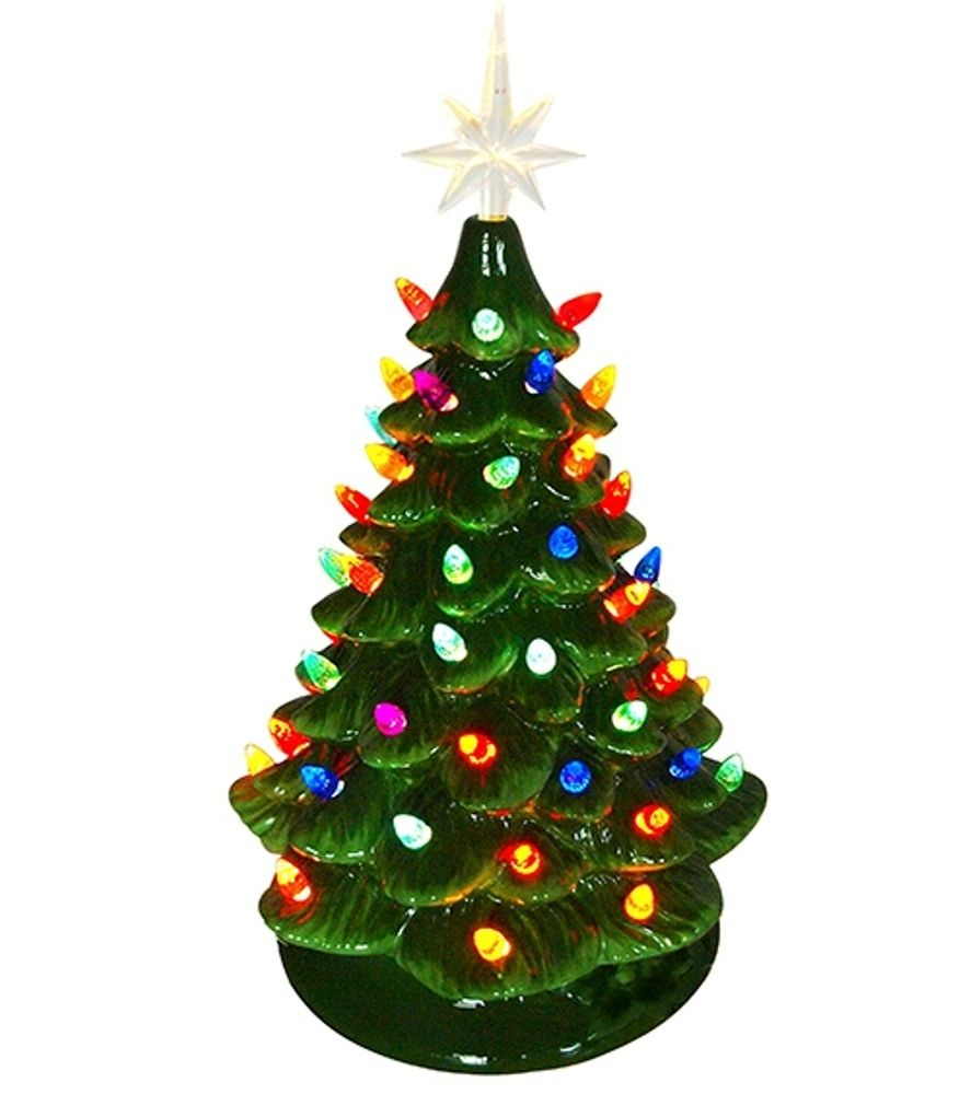 Lighted Ceramic Christmas Tree - Electric with Multi-Colored Lights - 16 Inch