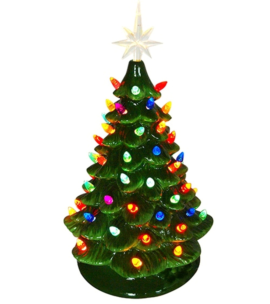 Ceramic Christmas Tree With Lights.Lighted Ceramic Christmas Tree Electric With Multi Colored