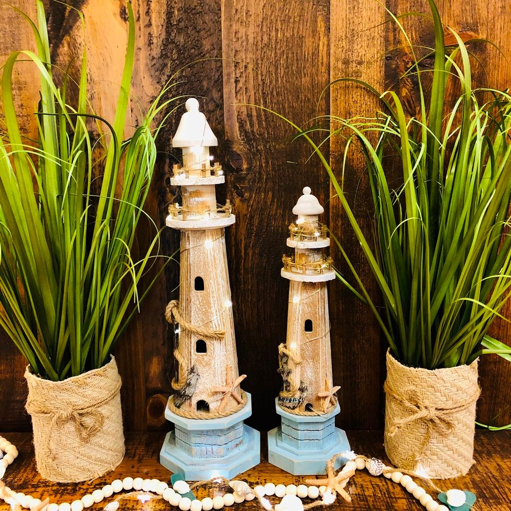 Lighthouse Statue - Weathered Wood - LED Timer Lights - 15in