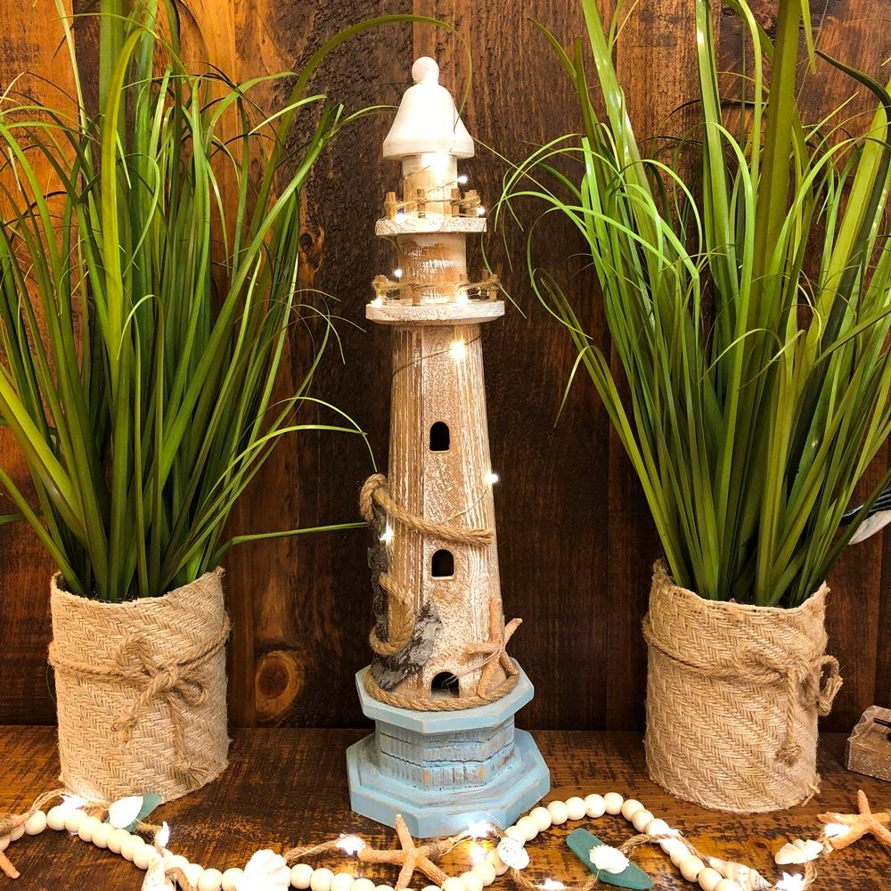 Lighthouse Statue - Weathered Wood - LED Timer Lights - 20in