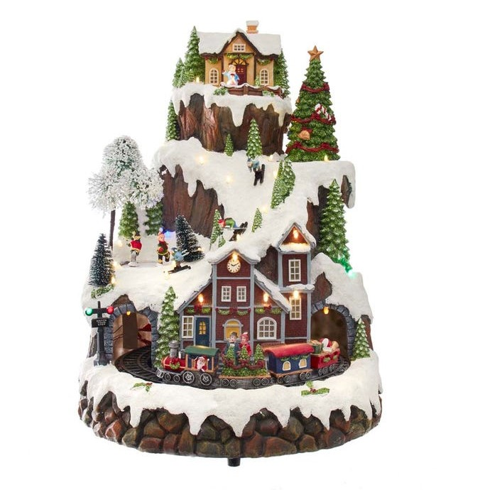 Lit Christmas Mountian Village Table Decor - Muscial - Battery LED - 17in