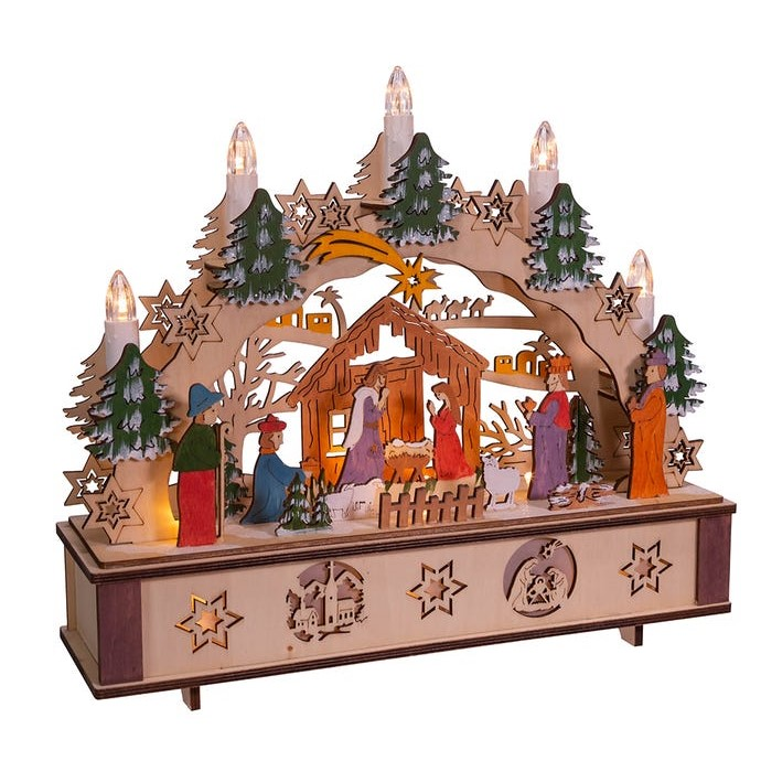 Lit Christmas Nativity Table Decor - Wooden - Battery-Operated LED - 11in