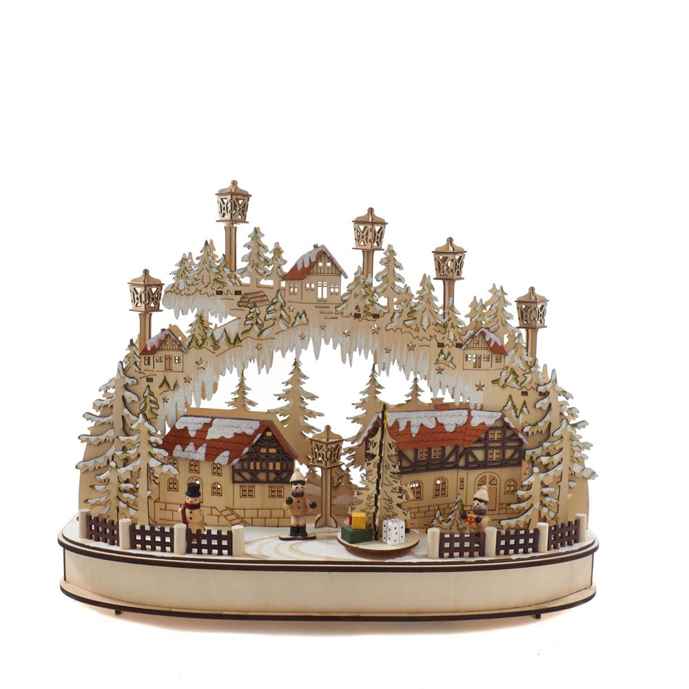 Lit Christmas Village Table Decor - Muscial - Battery-Operated LED - 16.5in