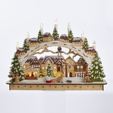 Lit Christmas Village Table Decor - Wooden - Battery-Operated LED - 17.5in