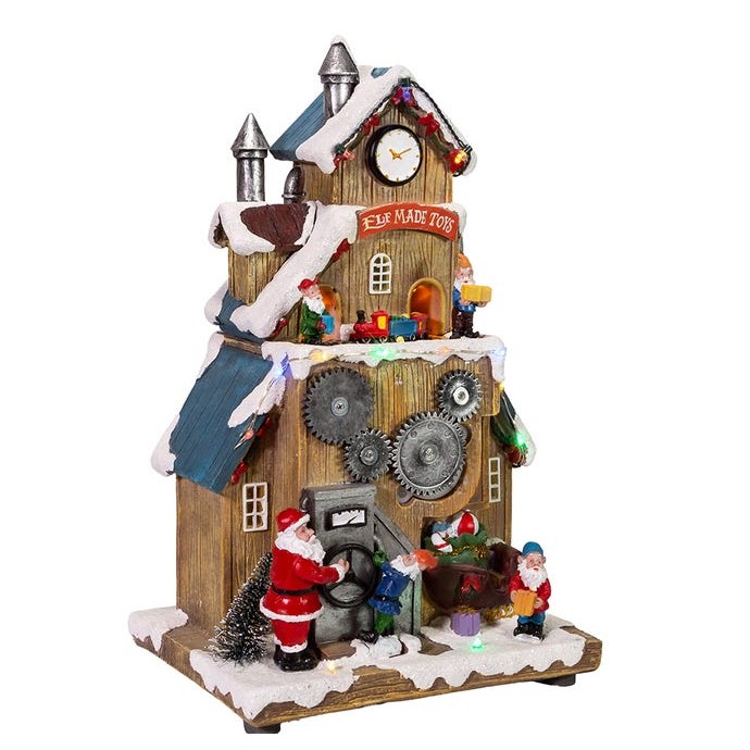 Lit Santa's Workshop With Train Table Decor - Battery-Operated LED