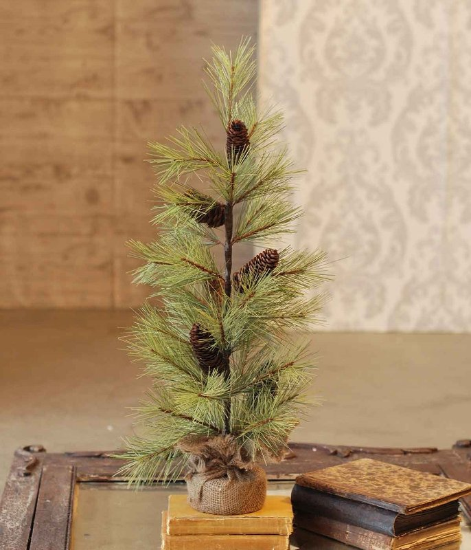 Long Needle Pine Tree - With Pine Cones - Table Top Christmas Tree - 2ft