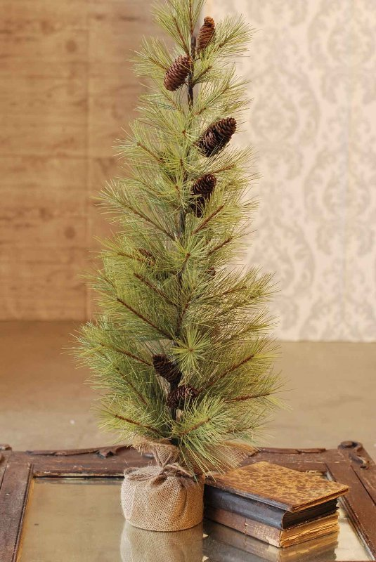 Long Needle Pine Tree - With Pine Cones - Table Top Christmas Tree - 3ft