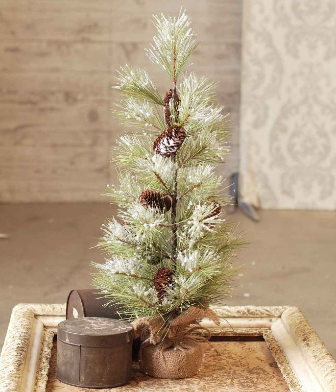 Long Needle Snowy Pine Tree with Cones - Table Top Tree - 2 Foot