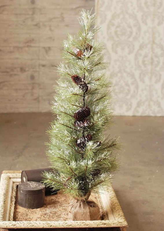 Long Needle Snowy Pine Tree with Cones - Table Top Tree - 3 Foot